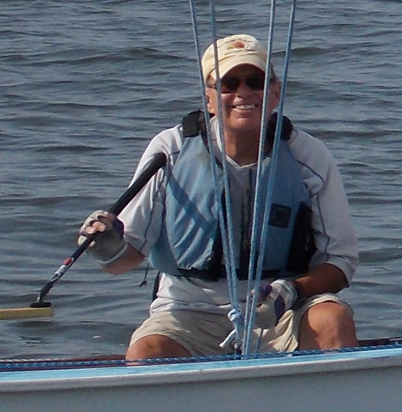 Photo of Wayne at the helm